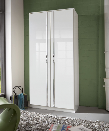 Ivana German White Gloss 2 Door Wardrobe - 2657